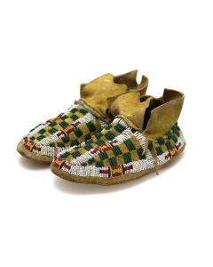 """Plains Arapaho Leather Beaded Adolescent Moccasins with Checkered Design c. 1890s, 2.75"""" x 6"""" x 3"""" (DW92323A-0421-014)"""