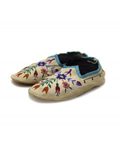 """Chippewa Leather Beaded Moccasins with Floral Design c. 1880s, 2.25"""" x 10"""" x 14"""" (DW92323A-0421-016)"""