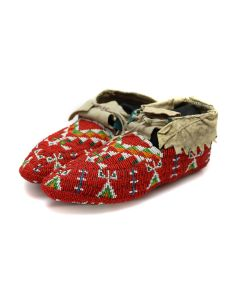 """Sioux Ceremonial Leather and Beaded Moccasins c. 1890s, 3.25"""" x 10"""" x 4"""" (DW92323A-0421-017)"""