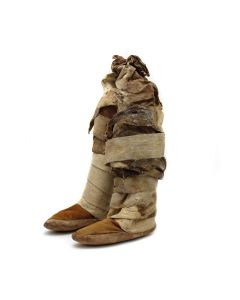 "Navajo Adolescent Leather Moccasins c. 1900s, 17"" x 7.5"" x 4"" (DW92323A-0521-001)"