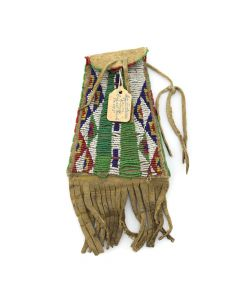 "Sioux Beaded Leather Strike-A-Light Bag c. 1890s, 8"" x 4"" (DW92323A-1020-004)"