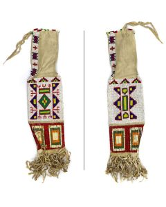 """Sioux Leather Beaded Pipe Bag with Quillwork c. 1890-1900s, 28"""" x 7"""" (DW92346A-0421-002)"""