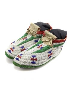"Lakota Ceremonial Beaded Moccasins with Stand c. 1890s, 4"" x 3.75"" x 10.5"" (DW92482-0220-046)"