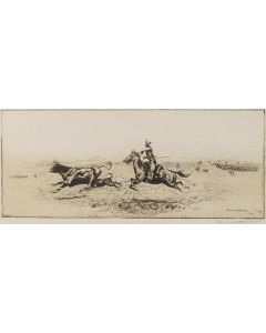 Edward Borein (1872-1945) - Etching of Steer and Cowboy
