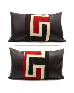 "Custom Leather Pillow, Double-Sided, with c. 1920s Navajo Klagetoh Textile Inlay, 13"" x 23"" x 7.5"" (F1409J)"