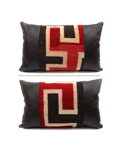 "Custom Leather Pillow, Double-Sided, with c. 1920s Navajo Klagetoh Textile Inlay, 13"" x 21"" x 7.5"" (F1409L)"
