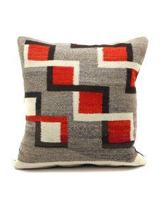"Custom Leather Pillow with c. 1920s Navajo Ganado Textile Inlay, 16"" x 16"" x 7"" (F1411D)"