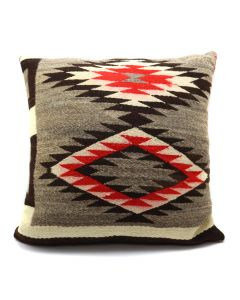 "Custom Leather Pillow with c. 1890s Navajo Ganado Transitional Textile Inlay, 23"" x 24"" x 10"" (F1412C)"
