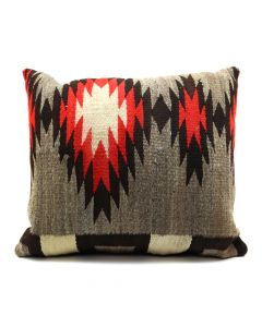 "Custom Leather Pillow with c. 1890s Navajo Ganado Transitional Textile Inlay, 20"" x 23"" x 9"" (F1412D)"