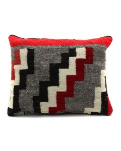 "Custom Leather Pillow with c. 1930s Navajo Klagetoh Textile Inlay, 11"" x 14"" x 4"" (F1413A)"