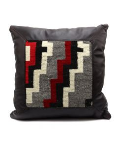 "Custom Leather Pillow with c. 1930s Navajo Klagetoh Textile Inlay, 18"" x 19"" x 6"" (F1413D)"