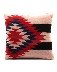 "Custom Leather Pillow with c. 1890s Navajo Chiefs Blanket Inlay, 12"" x 13"" x 4"" (F1414A)"