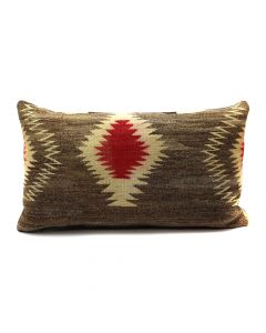 "Custom Leather Pillow with c. 1910-20s Navajo Ganado Textile Inlay, 15"" x 26"" x 6"" (F1417A)"