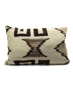 "Custom Leather Pillow with c. 1910s Navajo Crystal Textile Inlay, 18"" x 29"" x 8"" (F1418A)"