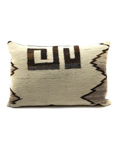 "Custom Leather Pillow with c. 1910s Navajo Crystal Textile Inlay, 19"" x 28"" x 7"" (F1418B)"