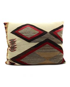 "Custom Leather Pillow with c. 1920s Navajo Crystal Textile Inlay, 21.5"" x 27"" x 7"" (F1427A)"