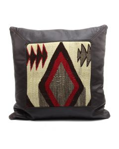 "Custom Leather Pillow with c. 1920s Navajo Crystal Textile Inlay, 19"" x 19.5"" x 5"" (F1427E)"
