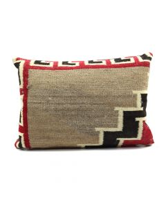 "Custom Leather Pillow with c. 1920s Navajo Klagetoh Textile Inlay, 14"" x 20"" x 4.5"" (F1428C)"