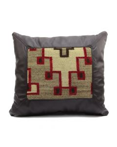 "Custom Leather Pillow with c. 1920s Navajo Klagetoh Textile Inlay, 17"" x 19"" x 5.5"" (F1433B)"