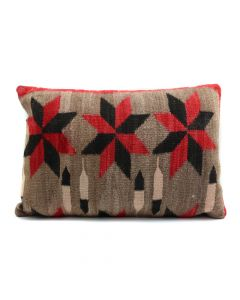 "Custom Leather Pillow with c. 1920s Navajo Ganado Textile with Valero Stars Inlay, 16"" x 22"" x 5"" (F1435B)"