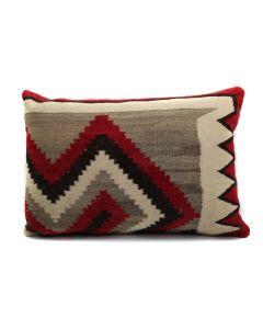 "Custom Leather Pillow with c. 1920s Navajo Ganado Textile Inlay, 14.5"" x 21"" x 5"" (F1439C)"