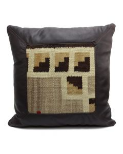 "Custom Leather Pillow with c. 1920s Navajo Crystal Textile Inlay, 18.5"" x 19"" x 4.5"" (F1440C)"