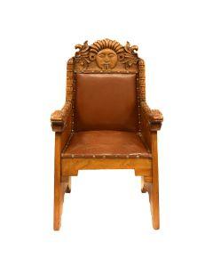 "Mexican Wooden Chair with Quetzalcoatl Design c. 1890s, 44.5"" x 24"" x 22"""