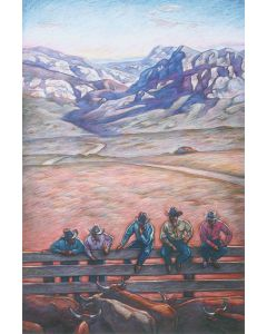 SOLD Howard Post - Five Cattle Buyers - Giclee