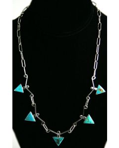 """SOLD Sam Patania - """"Triangle Lace"""" VIntage Blue Gem Turquoise and Sterlinlg SIlver Necklace"""
