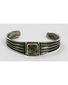 Navajo Turquoise and Ingot Silver Bracelet c. 1920s, size 6.25 (J5871)