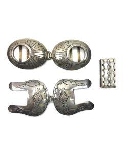 Navajo Silver Five Piece Belt Buckle Group, Contemporary