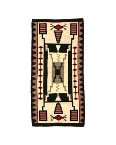 "Navajo Crystal Storm Pattern Rug, c. 1950s, 98"" x 48"""