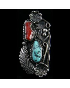 Lot 142 - Navajo Turquoise Nugget, Coral and Silver Ring with Floral Design c. 1960s, size 7 (J4568)