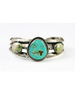 Navajo Turquoise and Silver Bracelet c. 1940s, size 6.5 (J7217)