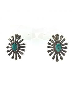 Navajo Turquoise and Silver Post Earrings, c. 1940s
