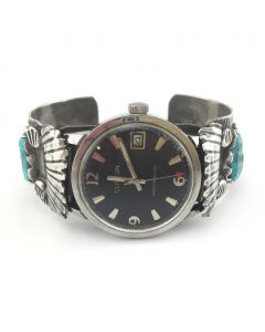 Navajo Turquoise and Silver Watchband, circa 1960s, Size 6.75
