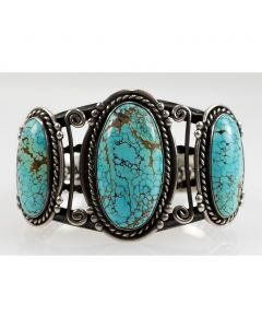 Navajo Number 8 Turquoise and Silver Bracelet c. 1940s, size 6.5 (J7395)