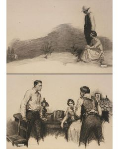 "LOT 160 - W. H. D. Koerner (1878-1938) - Pair of Drawings for Lucky Devil, 1920, 19.5"" x 27.5"" each  (PDC1364)"