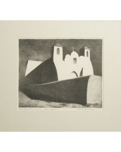 SOLD - Kenneth Adams (1897-1966) - Ranchos de Taos Church - Moonlight