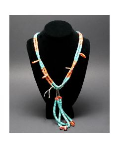 """Santo Domingo (Kewa) Jocla Necklace with Turquoise and Spiny Oyster, Contemporary, 26"""" long (J90106-106-011)"""