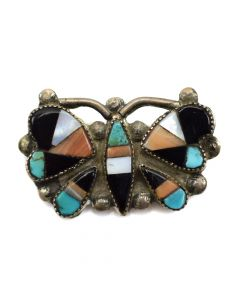 "Zuni Butterfly Pin with Multi-Stone Inlay, c. 1930-40, 0.75"" x 1.5"""