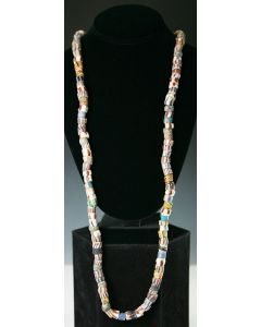"""West African Molded and Cut """"Powder"""" Glass Beads, 38"""" Long (J3101)"""