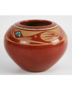 SOLD Tony Da (1940-2008) - San Ildefonso Avanyu Jar with Turquoise and Heishi