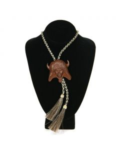 SOLD CAA Prix de West - Allan Houser Buffalo Dancer Bolo with Braided Horsehair