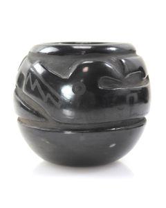 """Margaret Tafoya (1904-2001) - Santa Clara Black Carved Avanyu Jar, c. 1940-50s, 4.75"""" x 5.25"""""""