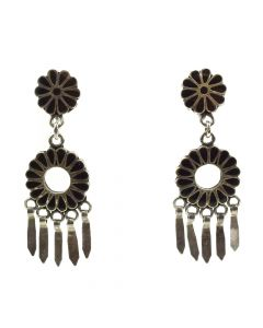 "Dishta Family - Zuni Jet Channel Inlay and Silver Post Earrings c. 1940-50s, 2"" x 0.625"""