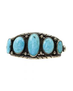 Lot 102 - Navajo Persian Turquoise and Silver Bracelet c. 1930-40s, size 6.5 (J7897)