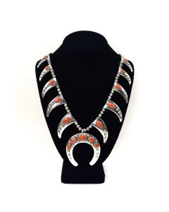 Frank Patania, Jr. and Thunderbird Shop - Coral and Sterling Silver Beaded Squash Blossom Necklace