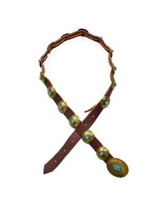 Navajo Turquoise, Brass, and Leather Belt