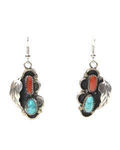 """Navajo Turquoise, Coral, and Silver French Hook Earrings, c. 1960s, 1.5"""""""